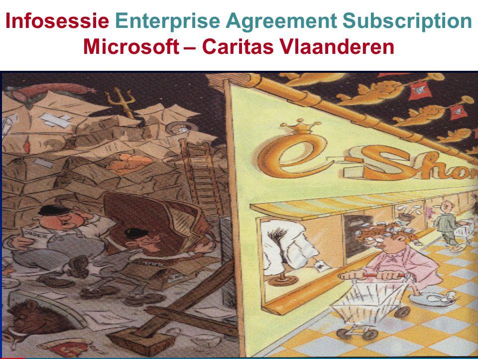 2 1/9/2004 1/9/2007 1/9/2010 - start masteragreement Basisprincipes : - Autonomie van elke voorziening - schaalgrootte : level D >15.000 pc's - prijsgarantie 3 jaar - enrollment vanaf 250 pc's - 'kleine' voorzieningen 'groeps-enrollment' - huur versus aankoop - Socialware: charity agreement Infosessie Enterprise Agreement Subscription Microsoft – Caritas Vlaanderen