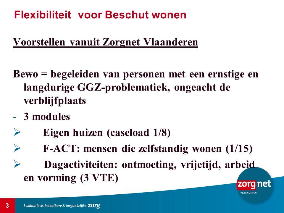 3 Voorstellen vanuit Zorgnet Vlaanderen Bewo = begeleiden van personen met een ernstige en langdurige GGZ-problematiek, ongeacht de verblijfplaats -3 modules  Eigen huizen (caseload 1/8)  F-ACT: mensen die zelfstandig wonen (1/15)  Dagactiviteiten: ontmoeting, vrijetijd, arbeid en vorming (3 VTE) Flexibiliteit voor Beschut wonen