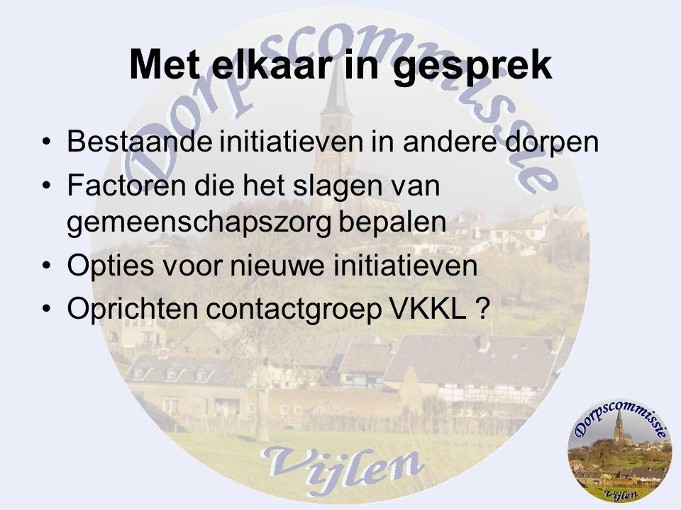 Met elkaar in gesprek Bestaande initiatieven in andere dorpen Factoren die het slagen van gemeenschapszorg bepalen Opties voor nieuwe initiatieven Opr