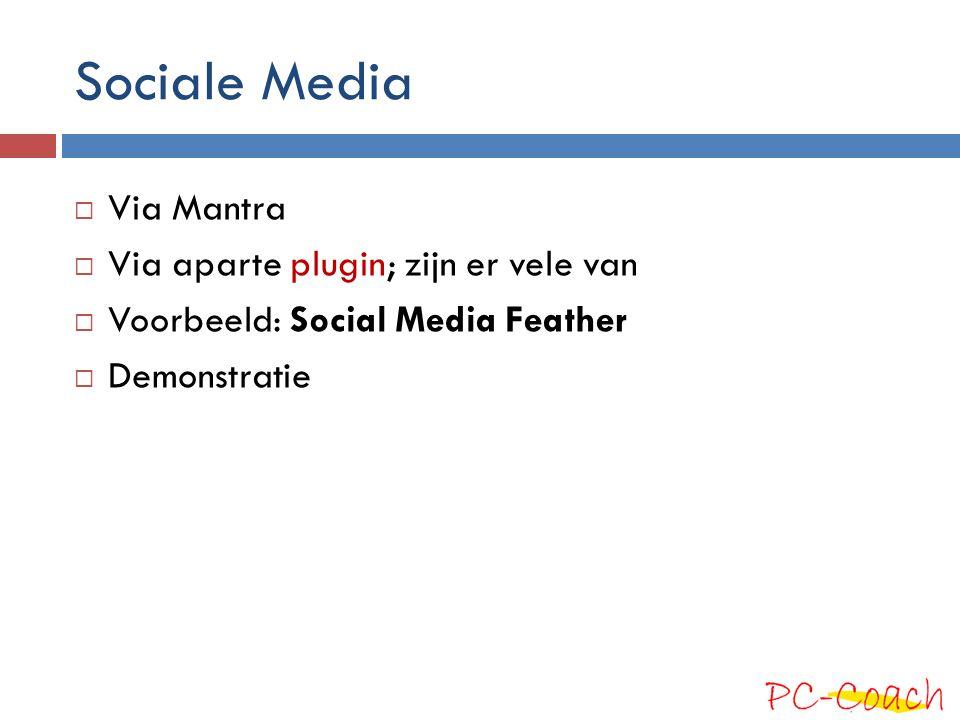 Sociale Media  Via Mantra  Via aparte plugin; zijn er vele van  Voorbeeld: Social Media Feather  Demonstratie