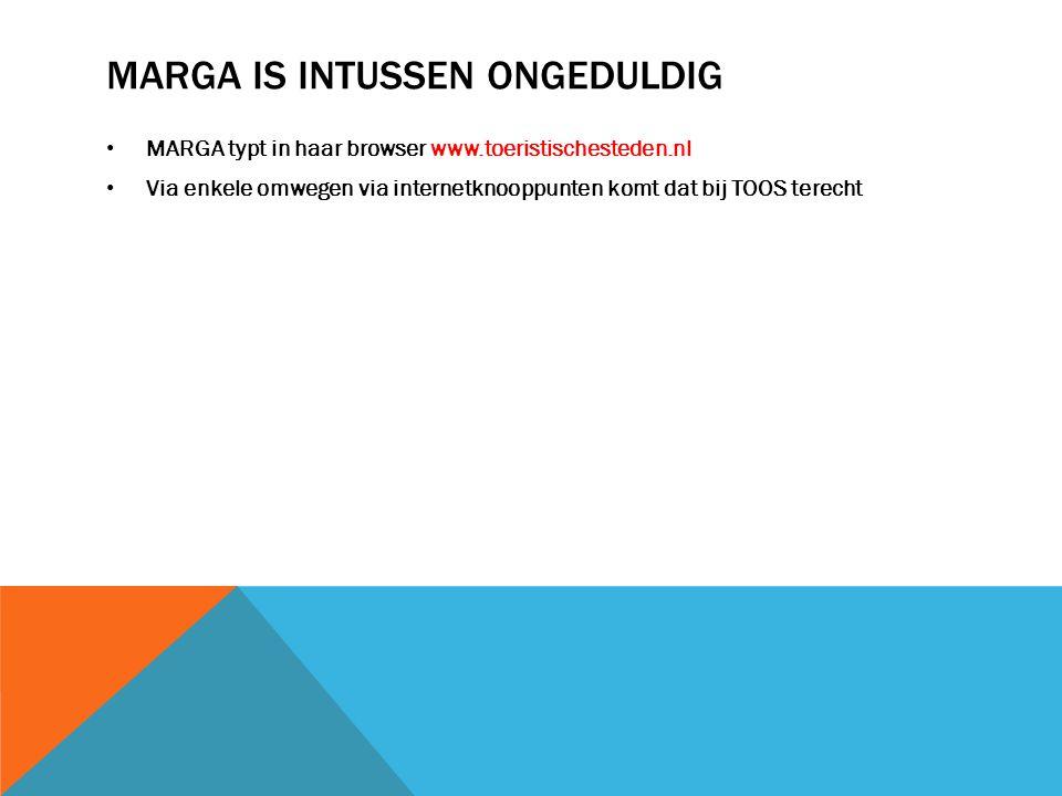 MARGA IS INTUSSEN ONGEDULDIG MARGA typt in haar browser www.toeristischesteden.nl Via enkele omwegen via internetknooppunten komt dat bij TOOS terecht