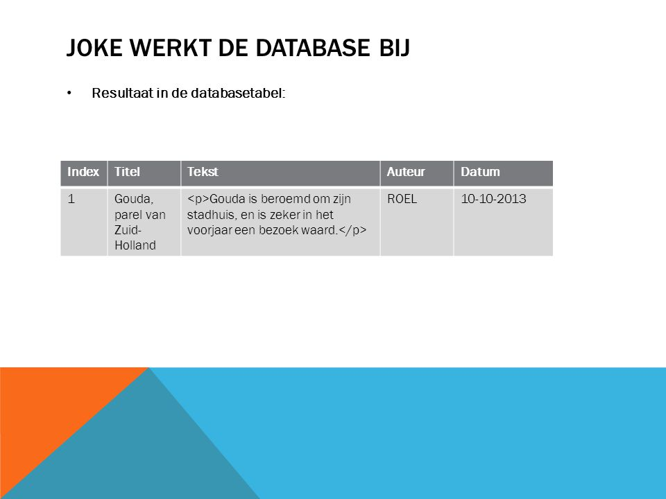 JOKE WERKT DE DATABASE BIJ Resultaat in de databasetabel: IndexTitelTekstAuteurDatum 1Gouda, parel van Zuid- Holland Gouda is beroemd om zijn stadhuis, en is zeker in het voorjaar een bezoek waard.