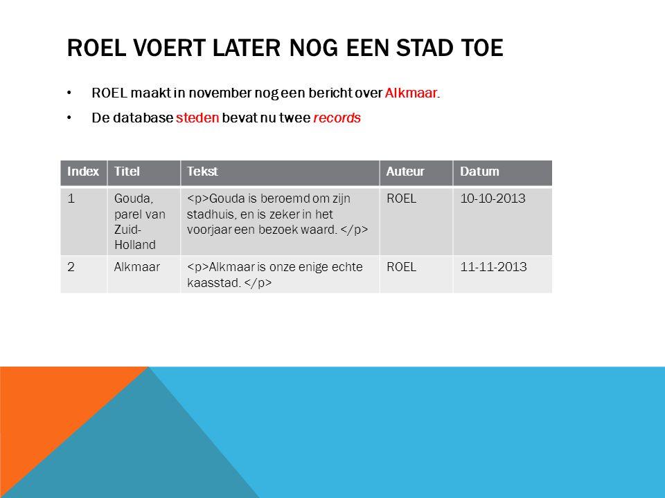 ROEL VOERT LATER NOG EEN STAD TOE ROEL maakt in november nog een bericht over Alkmaar.
