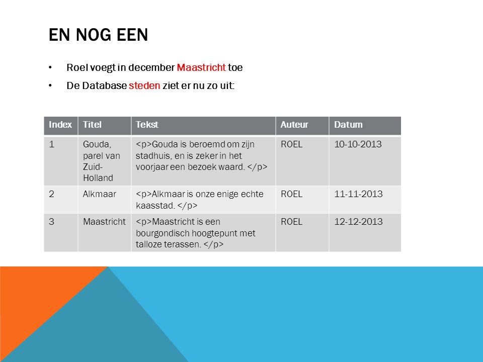 EN NOG EEN Roel voegt in december Maastricht toe De Database steden ziet er nu zo uit: IndexTitelTekstAuteurDatum 1Gouda, parel van Zuid- Holland Gouda is beroemd om zijn stadhuis, en is zeker in het voorjaar een bezoek waard.