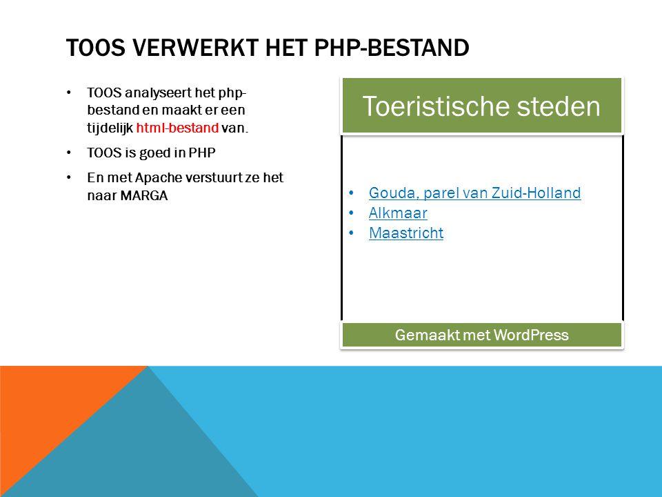 TOOS analyseert het php- bestand en maakt er een tijdelijk html-bestand van.