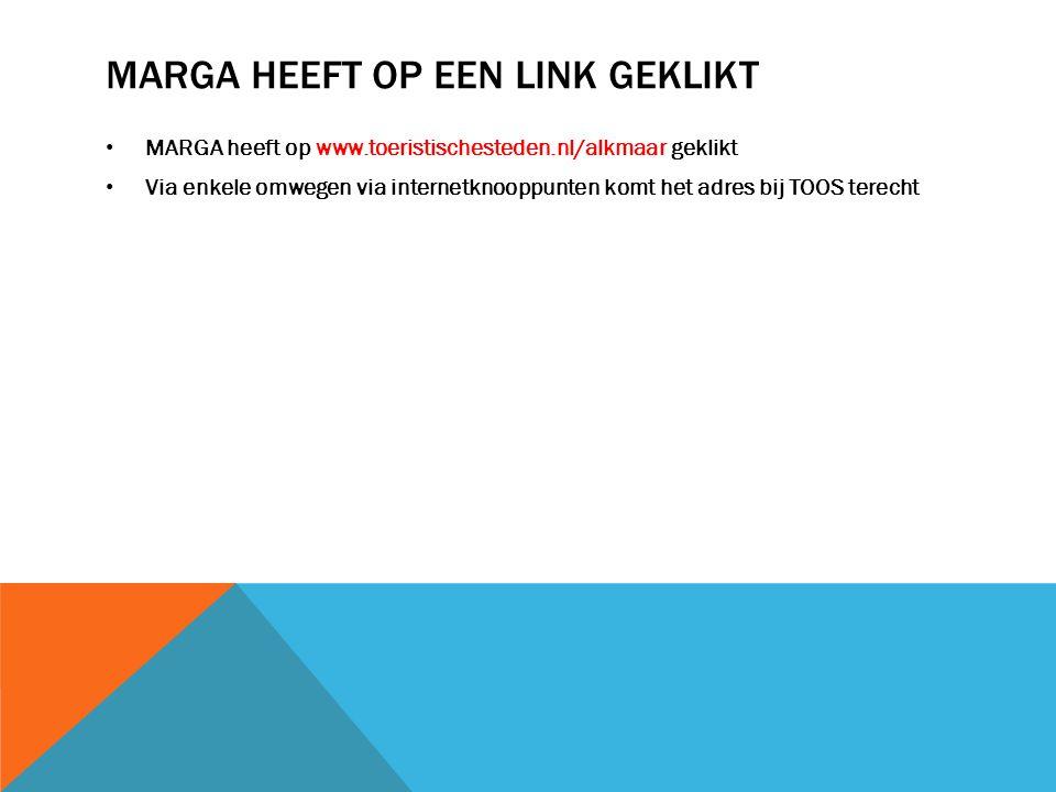 MARGA HEEFT OP EEN LINK GEKLIKT MARGA heeft op www.toeristischesteden.nl/alkmaar geklikt Via enkele omwegen via internetknooppunten komt het adres bij TOOS terecht
