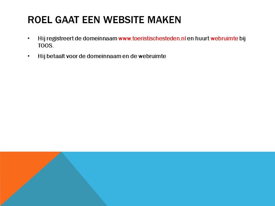 ROEL GAAT EEN WEBSITE MAKEN Hij registreert de domeinnaam www.toeristischesteden.nl en huurt webruimte bij TOOS.