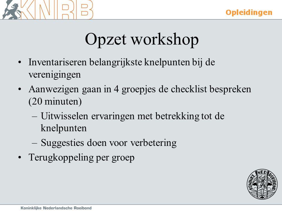Opzet workshop Inventariseren belangrijkste knelpunten bij de verenigingen Aanwezigen gaan in 4 groepjes de checklist bespreken (20 minuten) –Uitwisse