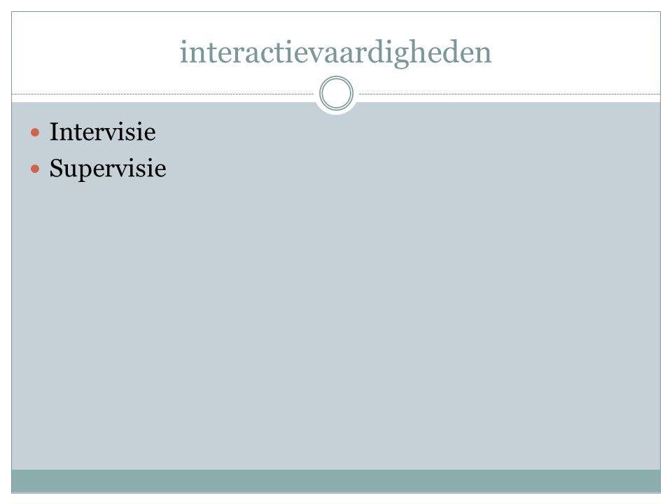 interactievaardigheden Intervisie Supervisie