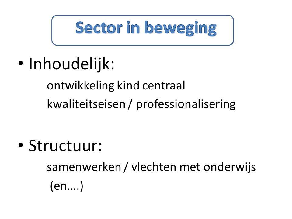 Inhoudelijk: ontwikkeling kind centraal kwaliteitseisen / professionalisering Structuur: samenwerken / vlechten met onderwijs (en….)
