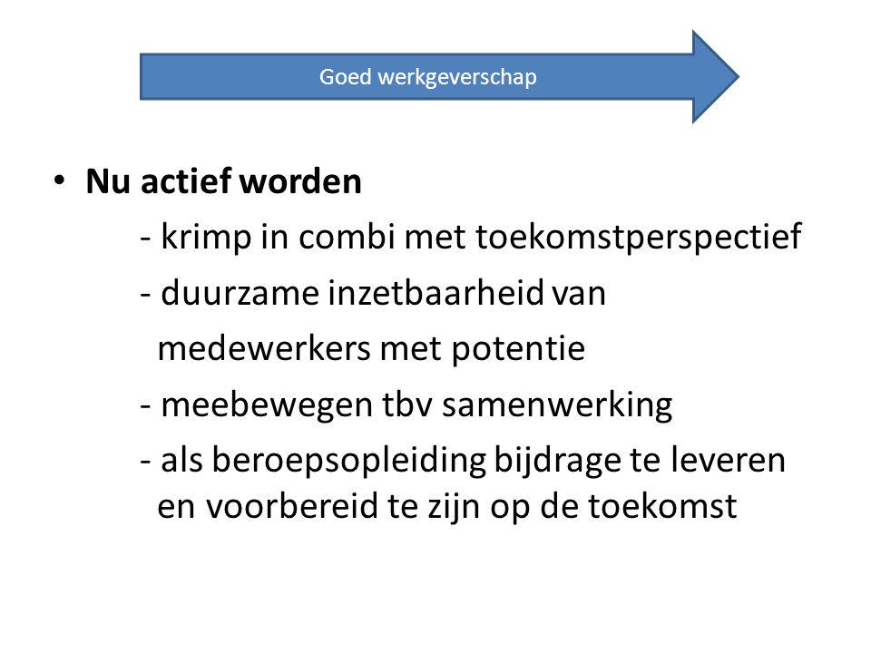 Nu actief worden - krimp in combi met toekomstperspectief - duurzame inzetbaarheid van medewerkers met potentie - meebewegen tbv samenwerking - als be
