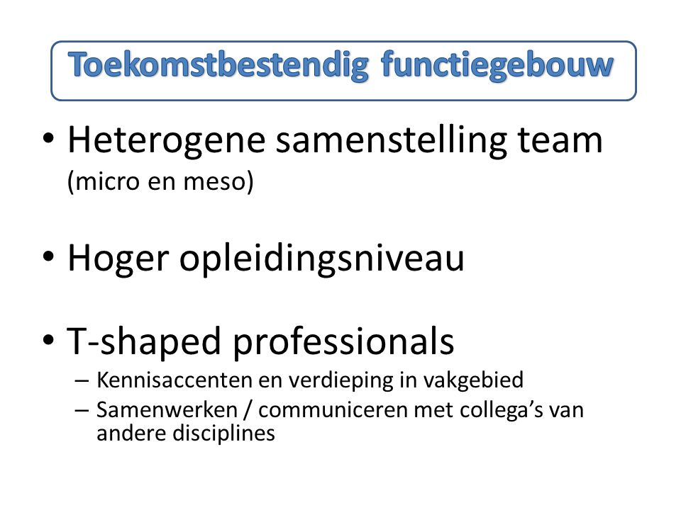 Heterogene samenstelling team (micro en meso) Hoger opleidingsniveau T-shaped professionals – Kennisaccenten en verdieping in vakgebied – Samenwerken / communiceren met collega's van andere disciplines