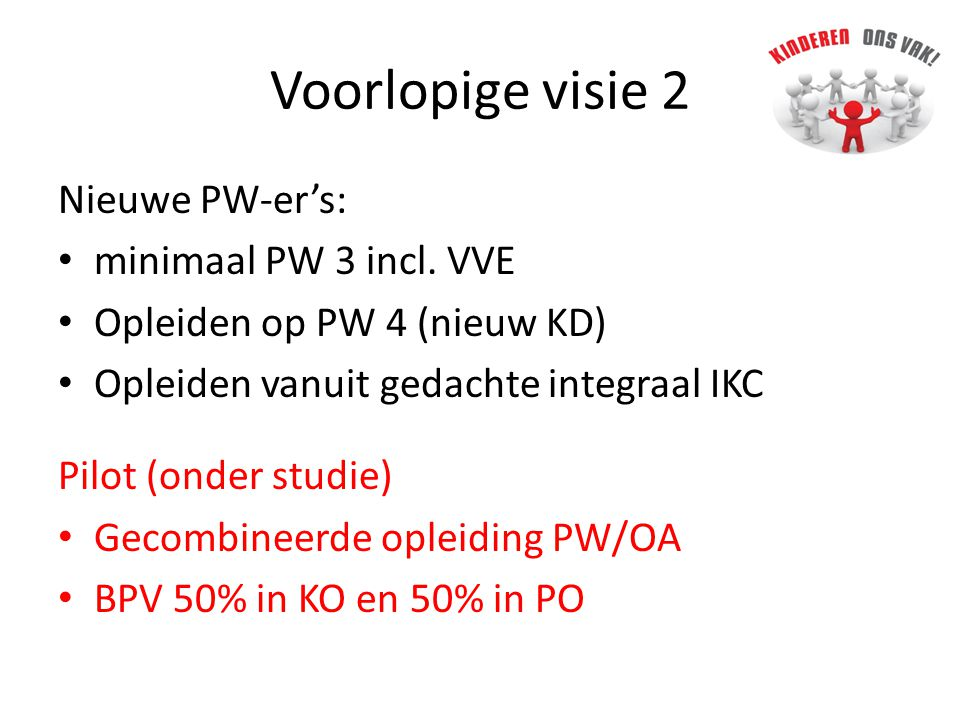 Voorlopige visie 2 Nieuwe PW-er's: minimaal PW 3 incl.