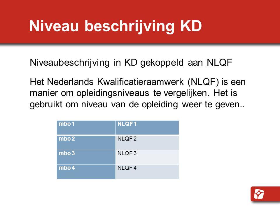 Niveau beschrijving KD Niveaubeschrijving in KD gekoppeld aan NLQF Het Nederlands Kwalificatieraamwerk (NLQF) is een manier om opleidingsniveaus te vergelijken.