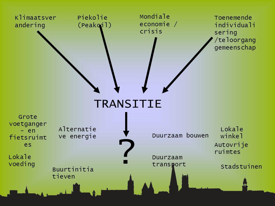 Klimaatsver andering Piekolie (Peakoil)  Mondiale economie / crisis Toenemende individuali sering /teloorgang gemeenschap TRANSITIE .