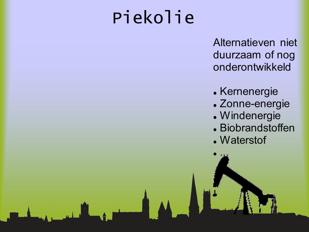 Piekolie Alternatieven niet duurzaam of nog onderontwikkeld Kernenergie Zonne-energie Windenergie Biobrandstoffen Waterstof...