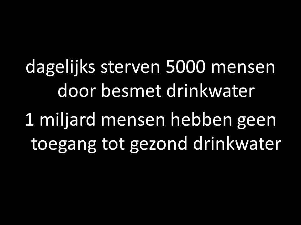 dagelijks sterven 5000 mensen door besmet drinkwater 1 miljard mensen hebben geen toegang tot gezond drinkwater