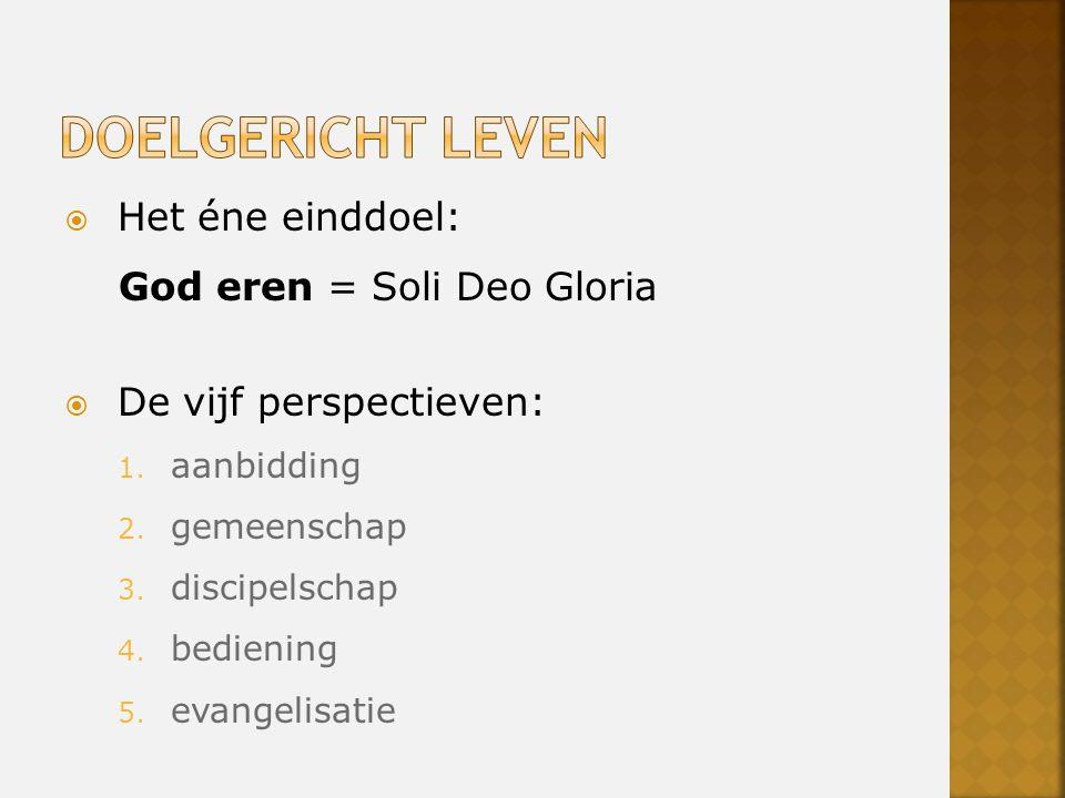  Het éne einddoel: God eren = Soli Deo Gloria  De vijf perspectieven: 1.