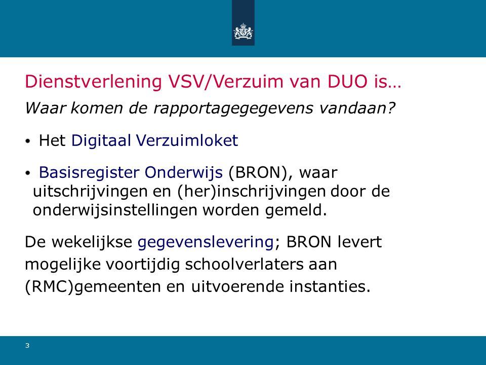 3 Dienstverlening VSV/Verzuim van DUO is… Waar komen de rapportagegegevens vandaan? Het Digitaal Verzuimloket Basisregister Onderwijs (BRON), waar uit
