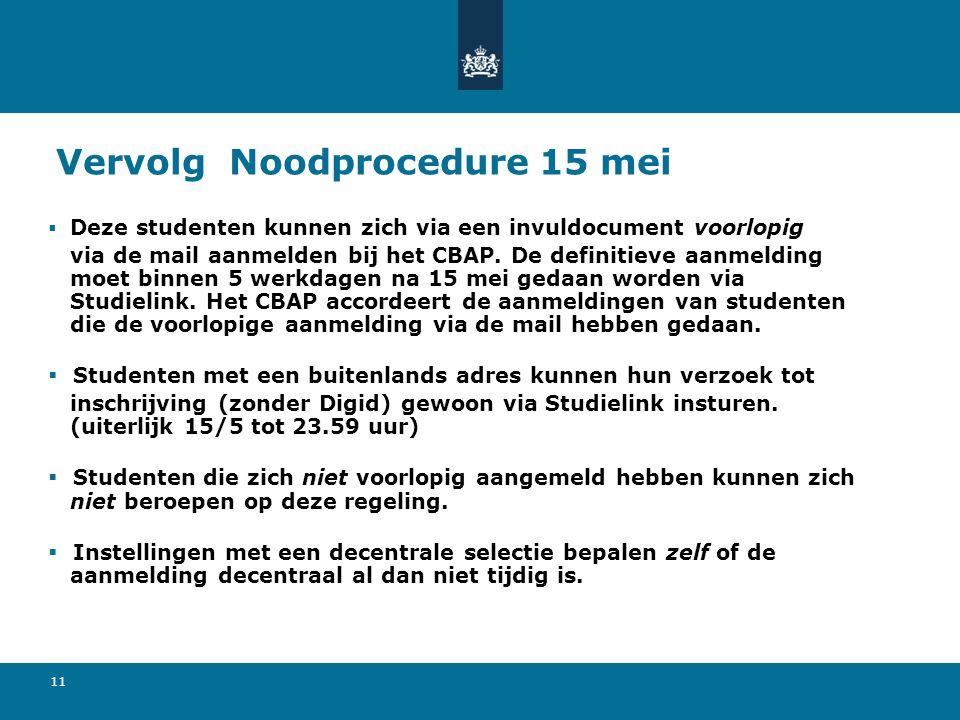 11 Vervolg Noodprocedure 15 mei  Deze studenten kunnen zich via een invuldocument voorlopig via de mail aanmelden bij het CBAP.
