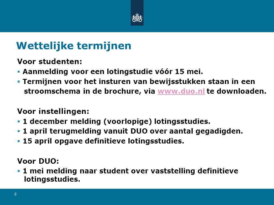 13 Lotingsklassen  Nederlands vwo, havo en mbo worden op basis van de cijferlijst / diploma ingedeeld in een bepaalde lotingsklasse.