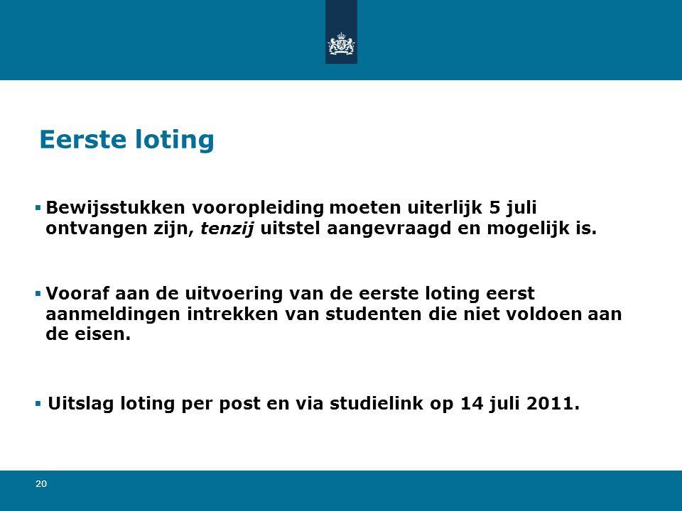 20 Eerste loting  Bewijsstukken vooropleiding moeten uiterlijk 5 juli ontvangen zijn, tenzij uitstel aangevraagd en mogelijk is.