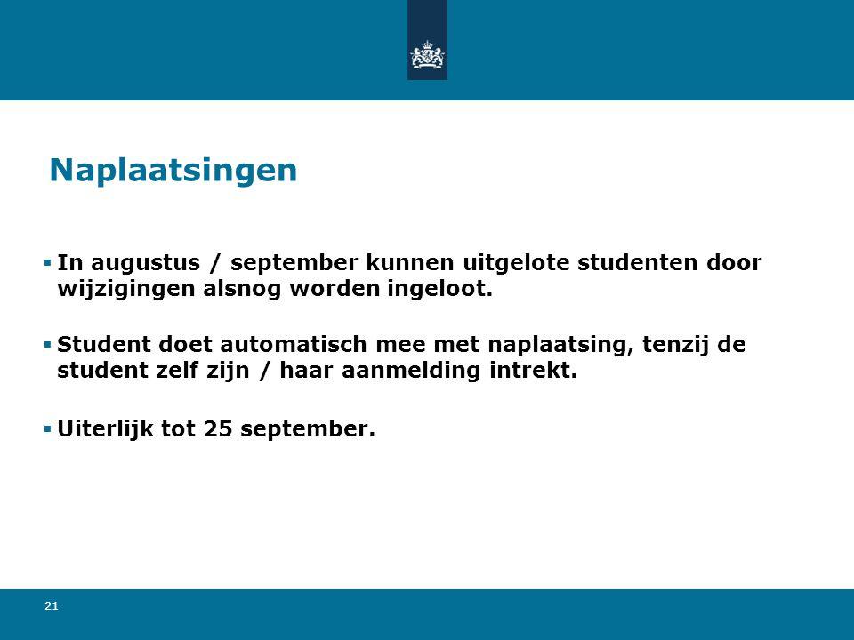21 Naplaatsingen  In augustus / september kunnen uitgelote studenten door wijzigingen alsnog worden ingeloot.