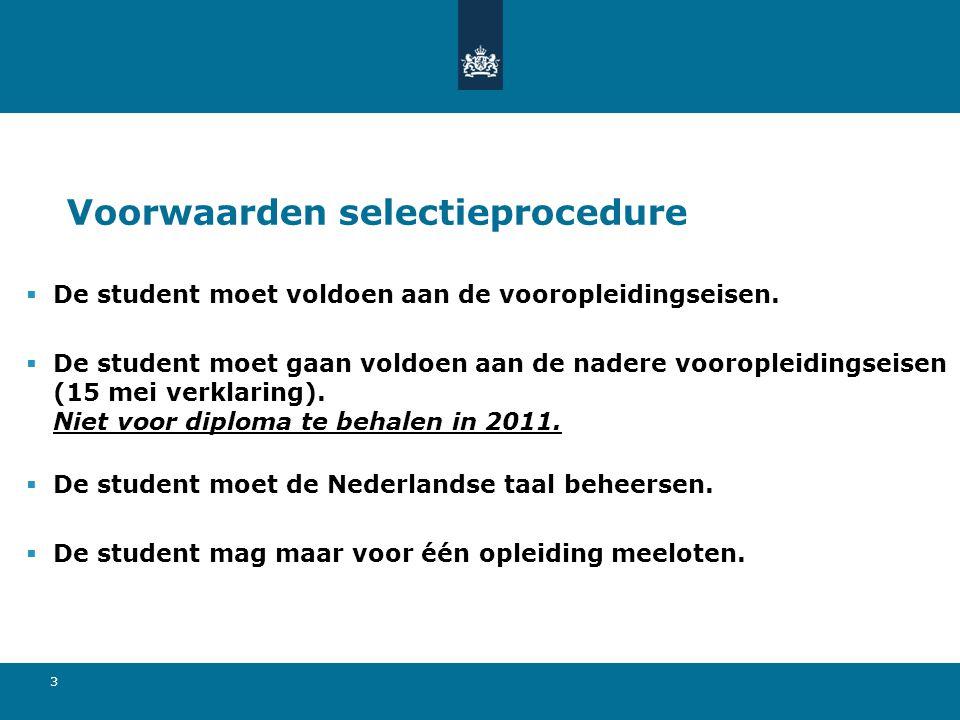 3 Voorwaarden selectieprocedure  De student moet voldoen aan de vooropleidingseisen.