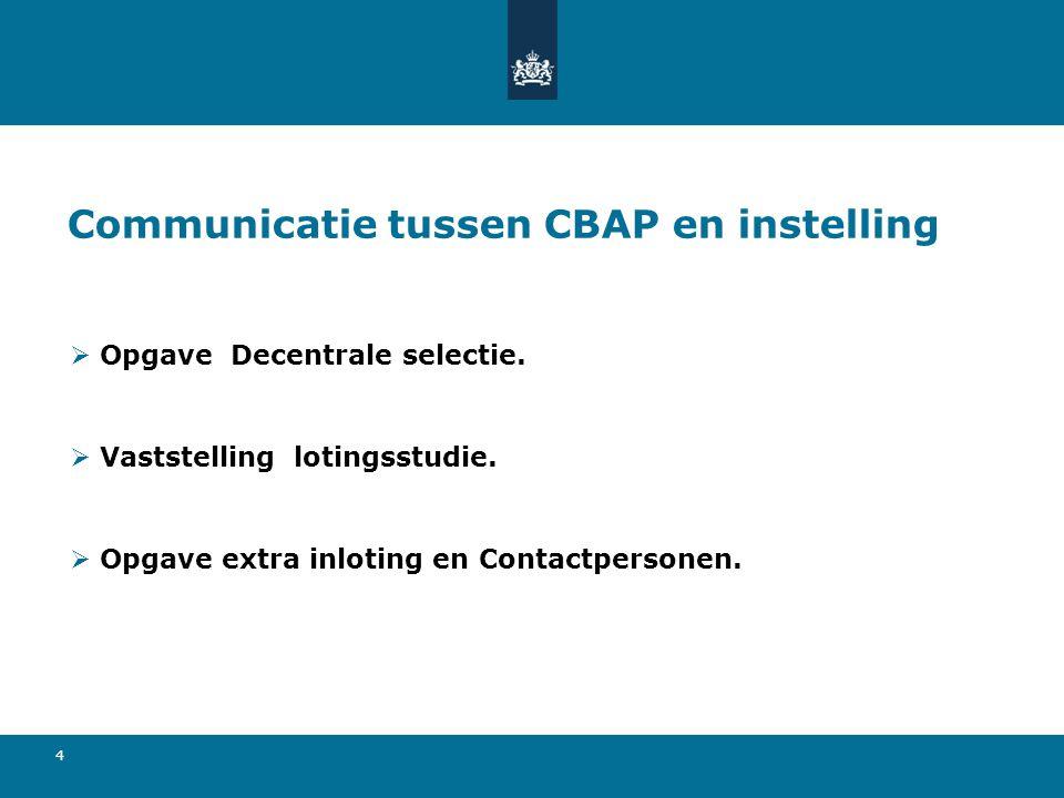 4 Communicatie tussen CBAP en instelling  Opgave Decentrale selectie.