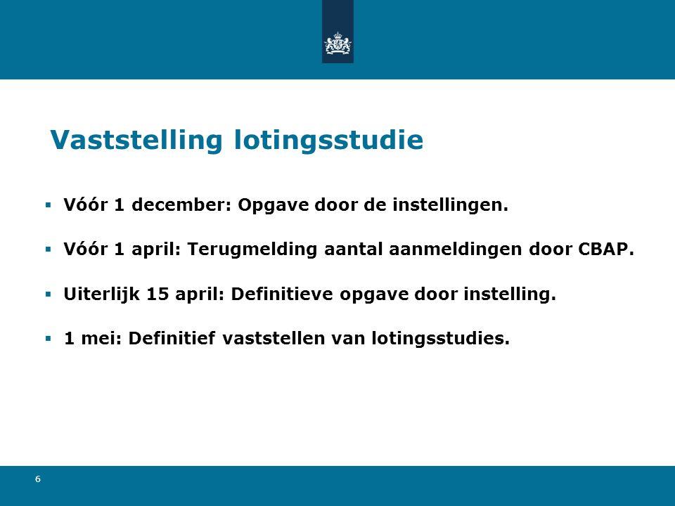 6 Vaststelling lotingsstudie  Vóór 1 december: Opgave door de instellingen.