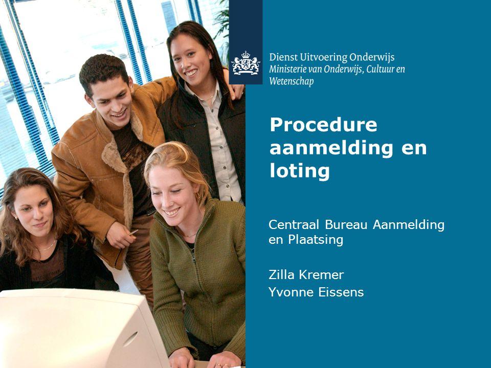 Procedure aanmelding en loting Centraal Bureau Aanmelding en Plaatsing Zilla Kremer Yvonne Eissens