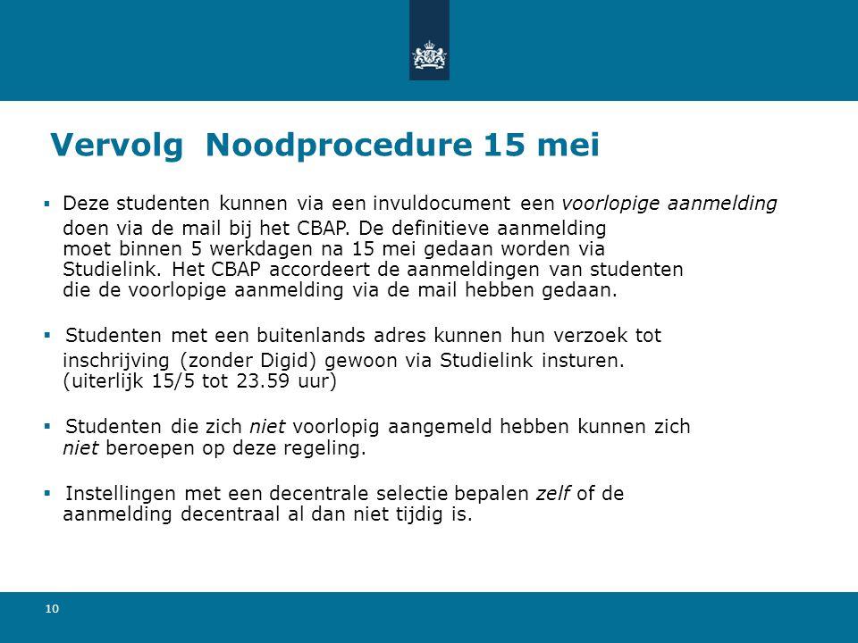 10 Vervolg Noodprocedure 15 mei  Deze studenten kunnen via een invuldocument een voorlopige aanmelding doen via de mail bij het CBAP. De definitieve