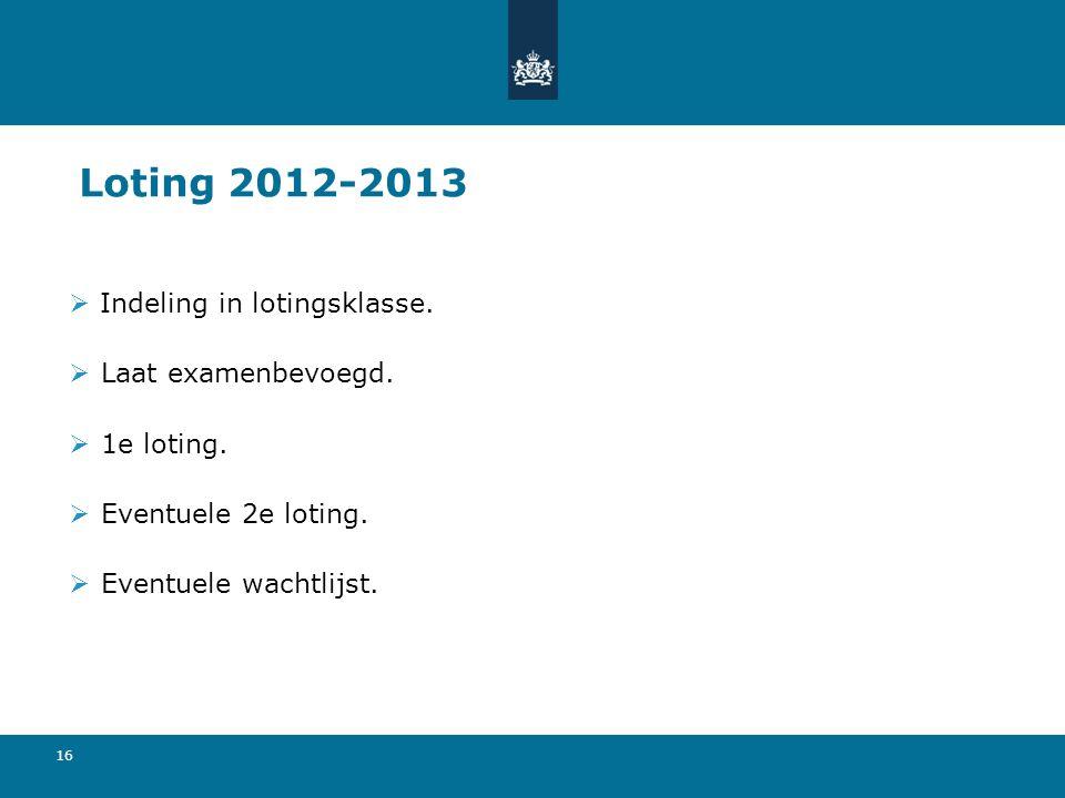 16 Loting 2012-2013  Indeling in lotingsklasse.  Laat examenbevoegd.  1e loting.  Eventuele 2e loting.  Eventuele wachtlijst.