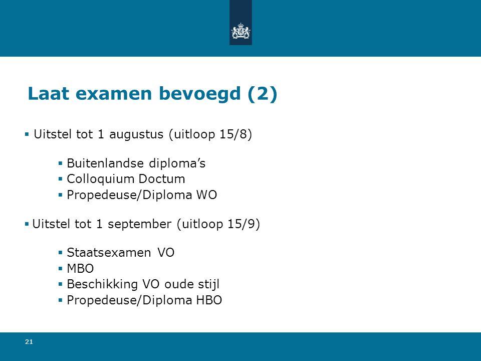 21 Laat examen bevoegd (2)  Uitstel tot 1 augustus (uitloop 15/8)  Buitenlandse diploma's  Colloquium Doctum  Propedeuse/Diploma WO  Uitstel tot