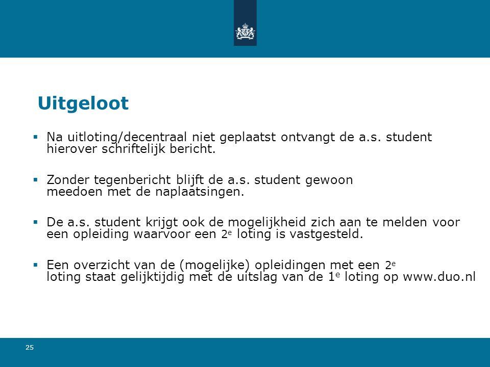 25 Uitgeloot  Na uitloting/decentraal niet geplaatst ontvangt de a.s. student hierover schriftelijk bericht.  Zonder tegenbericht blijft de a.s. stu