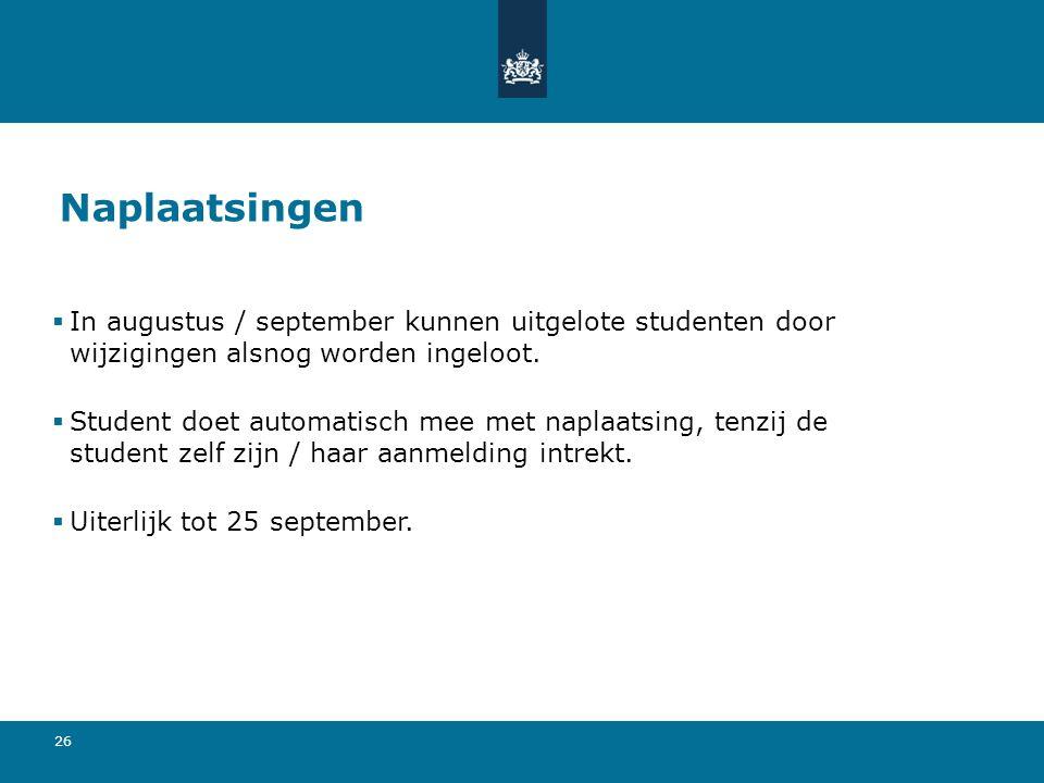 26 Naplaatsingen  In augustus / september kunnen uitgelote studenten door wijzigingen alsnog worden ingeloot.  Student doet automatisch mee met napl
