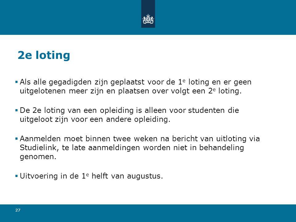 27 2e loting  Als alle gegadigden zijn geplaatst voor de 1 e loting en er geen uitgelotenen meer zijn en plaatsen over volgt een 2 e loting.  De 2e