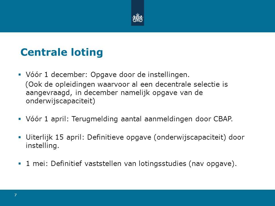 7 Centrale loting  Vóór 1 december: Opgave door de instellingen. (Ook de opleidingen waarvoor al een decentrale selectie is aangevraagd, in december