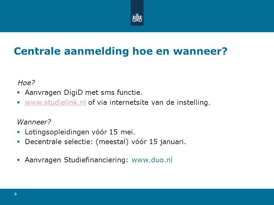 8 Centrale aanmelding hoe en wanneer? Hoe?  Aanvragen DigiD met sms functie.  www.studielink.nl of via internetsite van de instelling. www.studielin