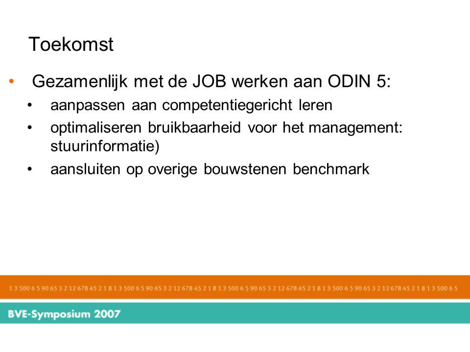 Toekomst Gezamenlijk met de JOB werken aan ODIN 5: aanpassen aan competentiegericht leren optimaliseren bruikbaarheid voor het management: stuurinform