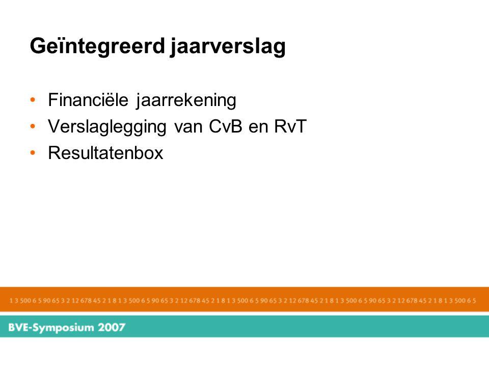 Geïntegreerd jaarverslag Financiële jaarrekening Verslaglegging van CvB en RvT Resultatenbox