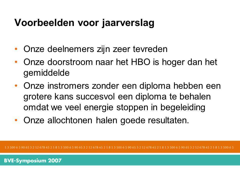 Voorbeelden voor jaarverslag Onze deelnemers zijn zeer tevreden Onze doorstroom naar het HBO is hoger dan het gemiddelde Onze instromers zonder een di