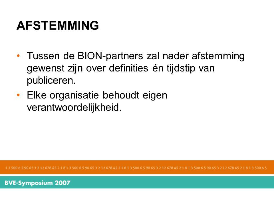 AFSTEMMING Tussen de BION-partners zal nader afstemming gewenst zijn over definities én tijdstip van publiceren. Elke organisatie behoudt eigen verant
