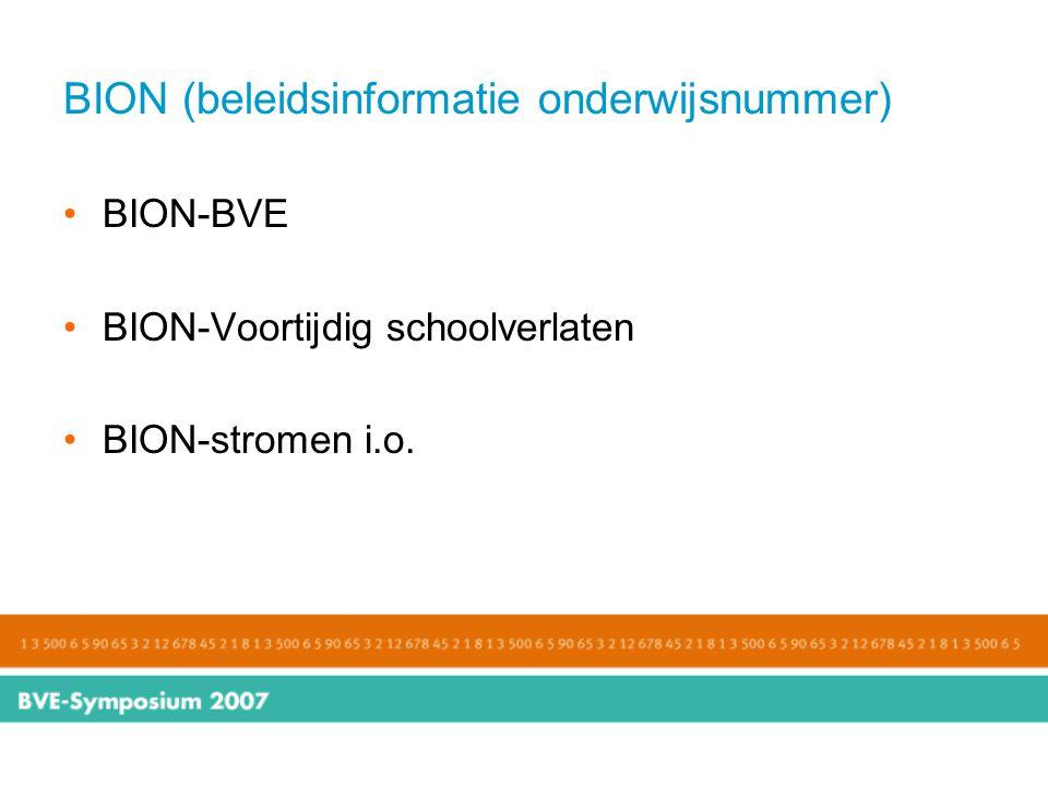 BION (beleidsinformatie onderwijsnummer) BION-BVE BION-Voortijdig schoolverlaten BION-stromen i.o.