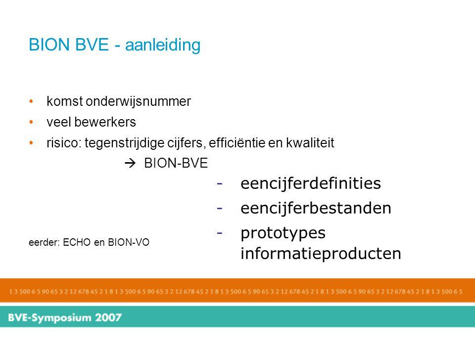 BION BVE - aanleiding komst onderwijsnummer veel bewerkers risico: tegenstrijdige cijfers, efficiëntie en kwaliteit  BION-BVE eerder: ECHO en BION-VO