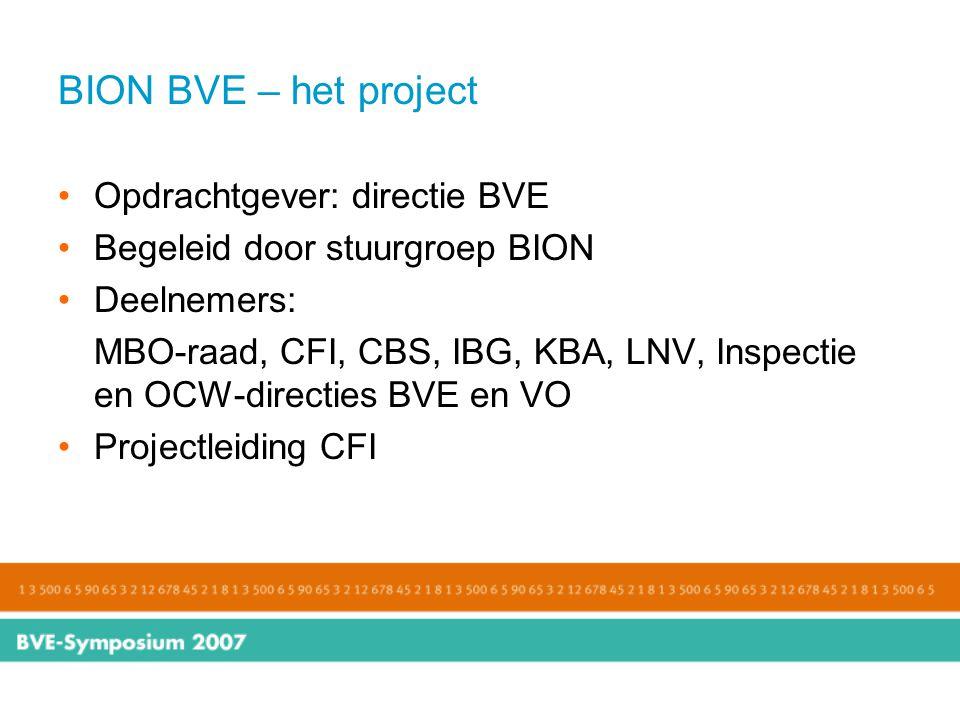 BION BVE – het project Opdrachtgever: directie BVE Begeleid door stuurgroep BION Deelnemers: MBO-raad, CFI, CBS, IBG, KBA, LNV, Inspectie en OCW-direc