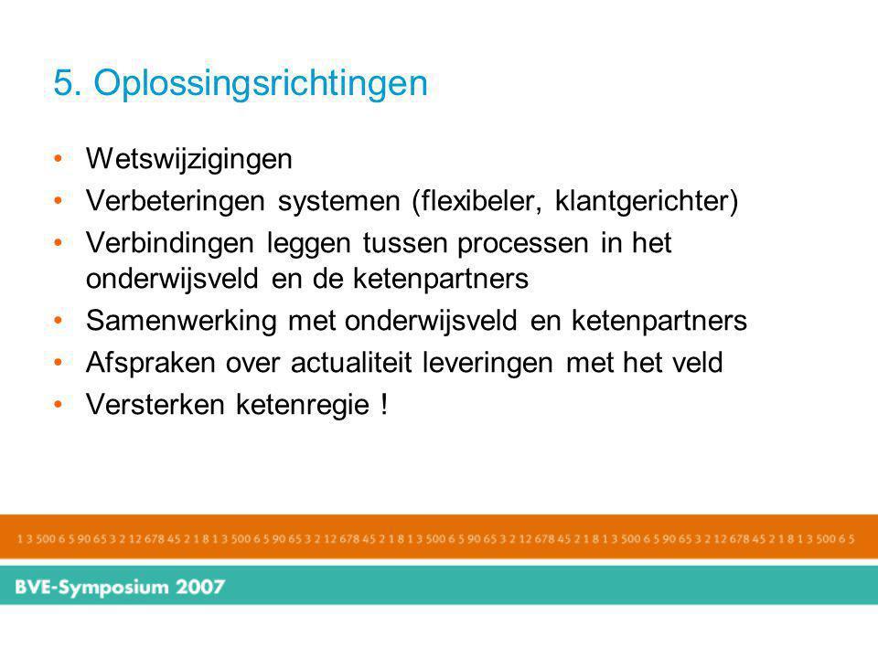 5. Oplossingsrichtingen Wetswijzigingen Verbeteringen systemen (flexibeler, klantgerichter) Verbindingen leggen tussen processen in het onderwijsveld