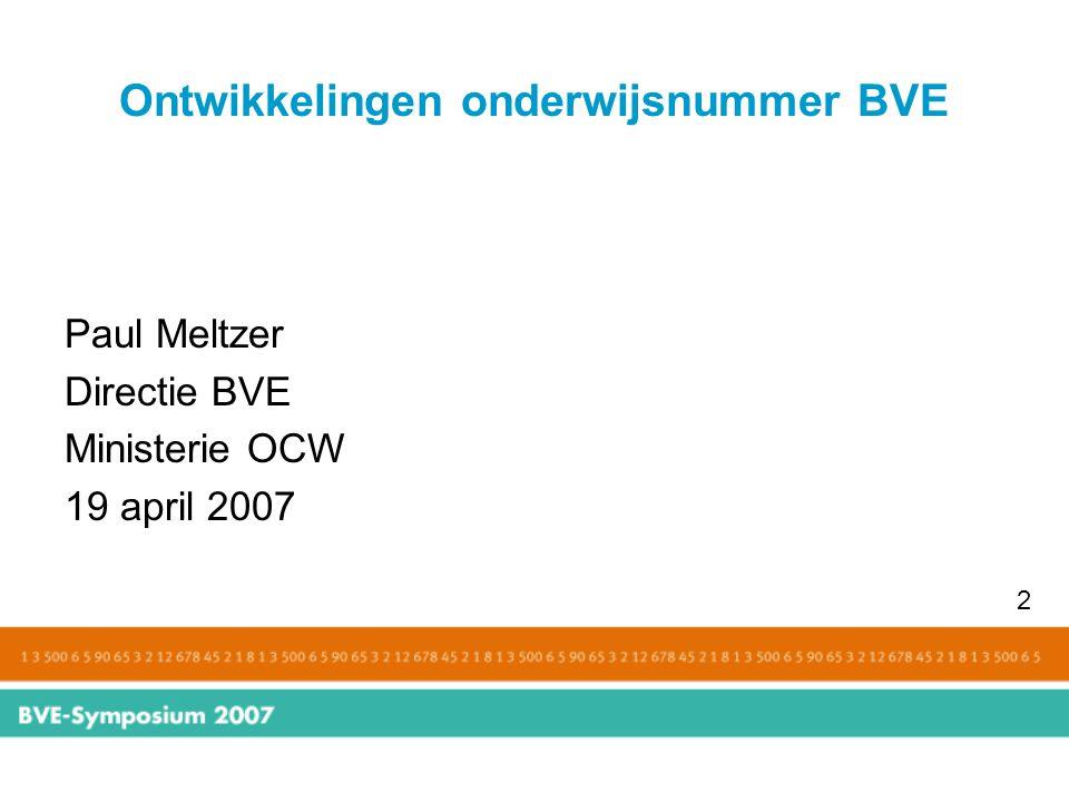 Ontwikkelingen onderwijsnummer BVE Inhoud A.Wetgeving B.Toepassingen 3
