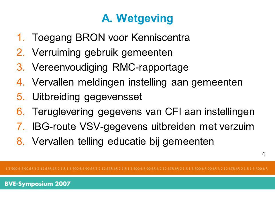 A. Wetgeving 1.Toegang BRON voor Kenniscentra 2.Verruiming gebruik gemeenten 3.Vereenvoudiging RMC-rapportage 4.Vervallen meldingen instelling aan gem