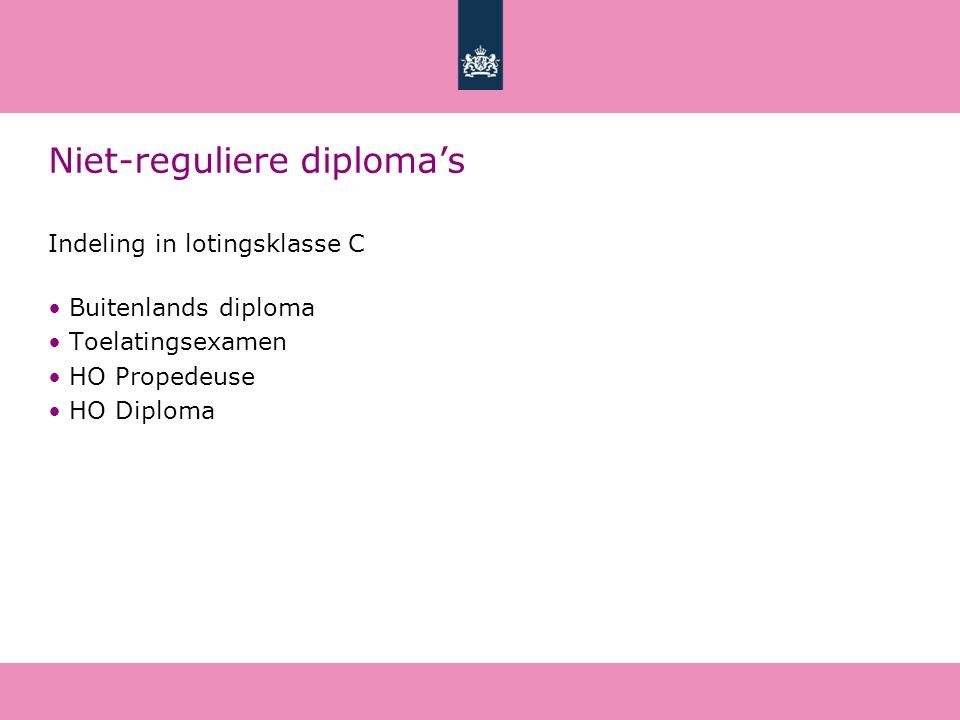 Niet-reguliere diploma's Indeling in lotingsklasse C Buitenlands diploma Toelatingsexamen HO Propedeuse HO Diploma